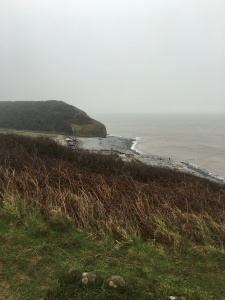 The view from the cliff down onto Llantwit beach