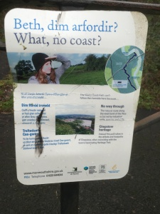 The sign explaining why the coastal path had no coast!!