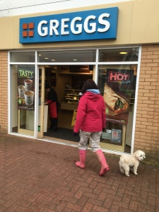 Less than a mile in and Sharon spies a Greggs