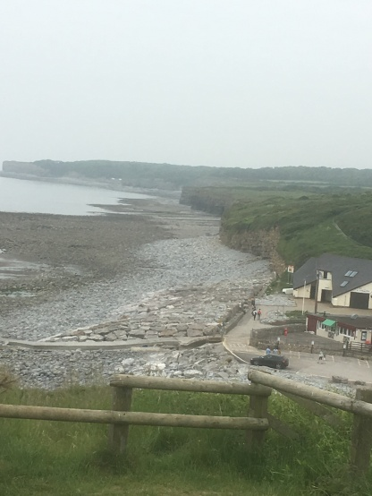 The view back towards the cafe at Llantwit beach