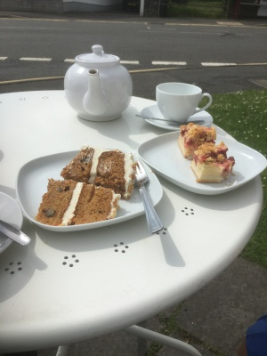 Passion fruit cake, and Strawberry and Rhubarb cake